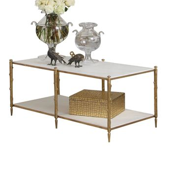 Arbor Transitional Brass & White Marble Cocktail Table by Global Views