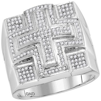 10kt White Gold Mens Round Diamond Domed Cross Cluster Ring 1/2 Cttw