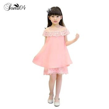 2018 New Summer Costume Little Girls Princess Dress Children's Casual Clothes Kids Chiffon Pearl Lace Girl Party Holiday Dresses