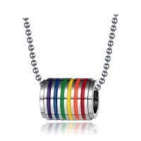 fashion stainless steel rainbow loop necklace pendant for men and women