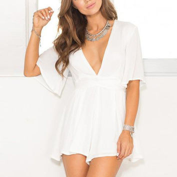 Short Sleeve V-Neck Strappy Romper Jumpsuit