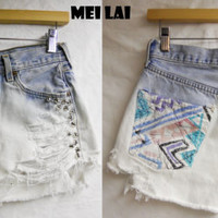 80s High waisted studded short by MeiLai on Etsy