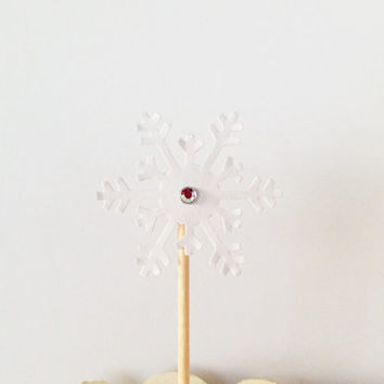 12 White Snowflake Cupcake Toppers w/ rhinestone - Frozen, Party Decor, Wedding Decor, Christmas, Holidays
