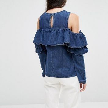 ASOS TALL Ruffle Front Cold Shoulder Top in Blue at asos.com