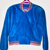 Vintage 1980's Cobalt Blue Suede Bomber Jacket, Danier Leather Jacket Antique Alchemy