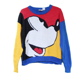 Vintage Mickey Mouse Disney Knit Colorblock Hipster Sweater in Primary Colors 80s Size L XL