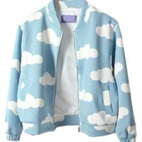 Cloud Print Baseball Coat with Long Sleeves