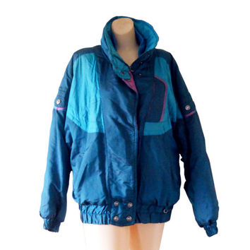 80s Ski Coat 80s Ski Jacket Retro Ski Jacket Retro Ski Gear Teal Coat Ski Wear Women Winter Coat 80s Jacket Women Winter Jacket Puff Coat