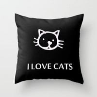 I LOVE CATS Throw Pillow by catspaws | Society6