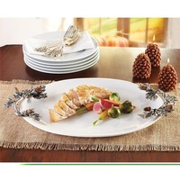 Acorn White Ceramic Serving Platter by Mud Pie