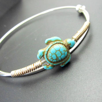 "Stackable Turtle Bracelet, Adjustable Bangle,Charms Bracelet, Sterling Silver, LoVE Friendship Bridesmaid, Mother""s Gift, Stacking Bangles"