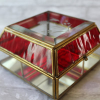 Curio Box with Brass, Glass Display Box, Jewelry Boxes, Red Clear Etched Glass Humming Bird, Curio Section Hinged Case FREE US Shipping