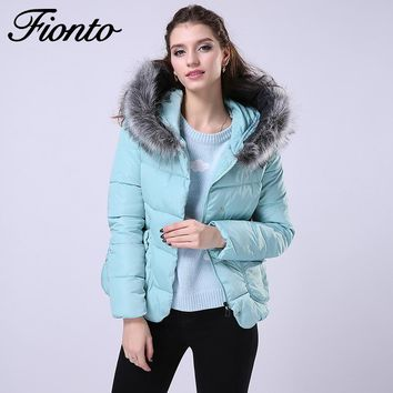 FIONTO Cotton Padded Jacket Parka Winter Jacket Women Long Fur Hooded Winter Coat Cloak Women Winter Jackets Coats F002