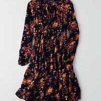 AEO Floral Fit & Flare Dress, Navy