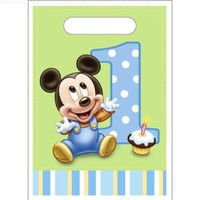 Mickey's 1st Birthday Treat Bags (8) Party Supplies