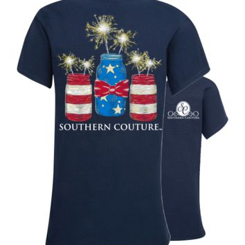 Southern Couture Preppy USA Mason Jars Bow T-Shirt