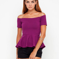 Motel Daffy Off Shoulder Peplum Top in Magenta