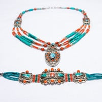 One of a kind-Tibetan Turquoise- Afghanistan Red Coral-Silver Necklace and Bracelet Set