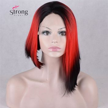 Short Asymetrical Ombre Red Heat Resistant Lace Front Wig
