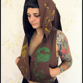 "Vest Waistcoat Long Hood Fairy Gipsy Festival Hippie Elf Party Hand Painted Unique - ""Trip"""