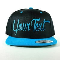 Snapback Hat Black and Teal - Your text embroidered - Custom Cap - Flat bill hat