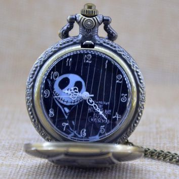 Bronze Engraved Black Dial Tim Burton's Nightmare Before Christmas Quartz Pocket Watch Analog Pendant Necklace Mens Womens Gifts