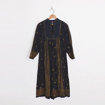 Black India Dress 70s India Tunic Dress India Cotton Gauze Dress Metallic Paisley Print 70s Dress Hippie Dress Boho Dress XS Extra Small S