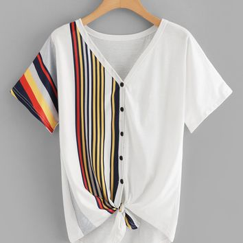 Plus Button Through Knot Hem Striped Tee