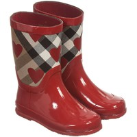 Girls Red Wellies with House Check & Hearts