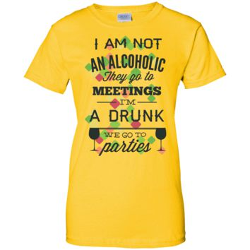 Not a alcoholic Ladies Long Form Fitting Tee Shirt