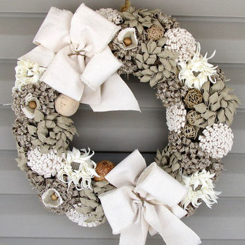 Wreaths,Shabby chic wreath,Rustic chic decor Wedding wreath, Fabric flower wreath,Summer Wreath, Spring Wreath, Rustic decor Item 120