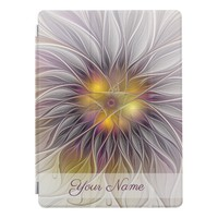 Luminous Colorful Flower Modern Fractal Name iPad Pro Cover