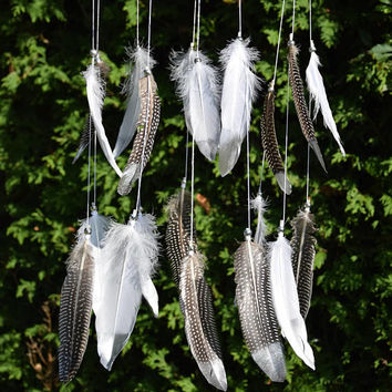Silver Feather Dreamcatcher Baby Mobile, Gender Neutral Silver Baby Nursery Decor, Nursery Mobile, Silver White Feathers Mobile