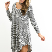 Charcoal Rain Dress With Aztec Print