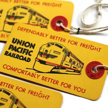 Mid-Century Railroad Ephemera Union Pacific Railway Baggage Tags - Vintage 1956 Tags, Travel by Train