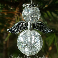 set of 6 cracked glass angel ornaments, angel, holiday decoration, free shipping