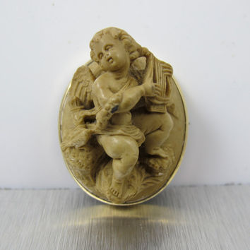 Antique Lava Cameo Brooch. Victorian 14K Yellow Gold Lava Angel Cherub Putti Cameo. Grand Tour Jewelry.