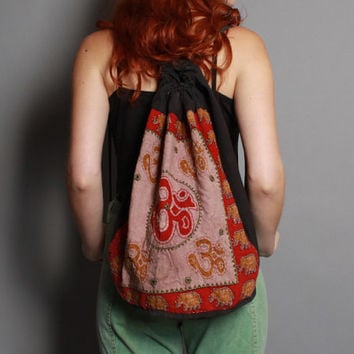 90s Ethnic Elephants BACKPACK / Slouchy Kuchi Mirror Cotton Bag