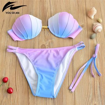2017 Newest Top Quality Girls Sweet Bikini Sets Shell Design Pink Gradient Biquini Push Up Strappy Women Swimwear