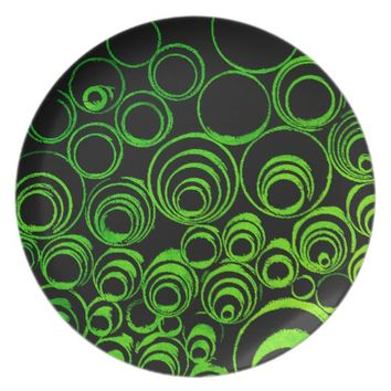 Green circles, rolls, ovals abstraction pattern dinner plate