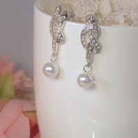 Love Knot Bride Earrings in Silver White Pearl and Clear Rhinestone - Bridesmaid Gift from LucyAlia's Bridal Closet