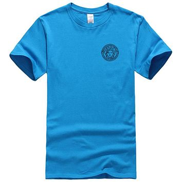 Versace New fashion bust side human head couple top t-shirt Blue