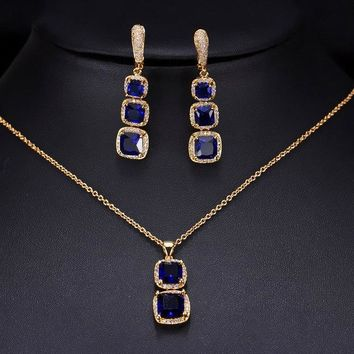Square Drop Cubic Zirconia Yellow Gold Trendy Women Jewelry Necklace And Earring Set