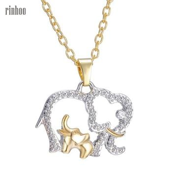 Cute Design gold color Chain Rhinestone Elephant Pendant Animal Necklace Fashion Jewelry For Gift