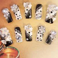 Black Swan Wedding Nails - 3D false fake press-on nail art - Japanese Nail Art - 3D Acrylic Nail Art