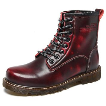 SHOES BOOTS MOTO Dr. Martens style Leather Warm Shoes Motorcycle Mens Ankle Boots