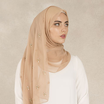 Dusty Pink Scattered Crystal Hijab - £29.99 : Inayah, Islamic Clothing & Fashion, Abayas, Jilbabs, Hijabs, Jalabiyas & Hijab Pins