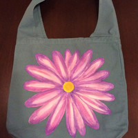 Hand Painted Daisy Canvas Sling Messenger Bag