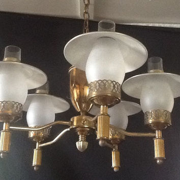 Vintage Early American  Brass Chandelier 5 Shades 1930s Colonial