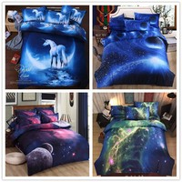 2016 Newest 3Pcs/4Pcs Cartoon Star Sky 3D Bedding sets King Size Bed Set Quilt Duvet Pillow Covers Sheet No Comforter